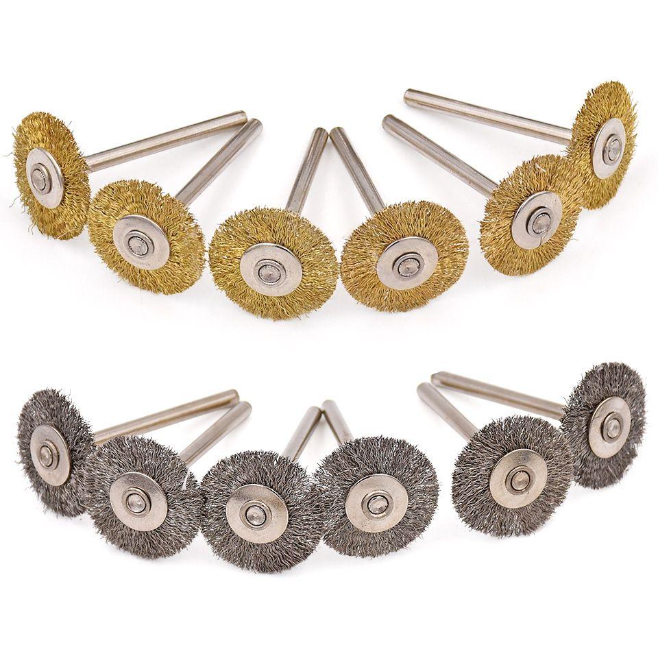20 pièces pour Dremel accessoires abrasifs acier laiton brosse meule polissage meuleuse brosses pour perceuse électrique outil rotatif