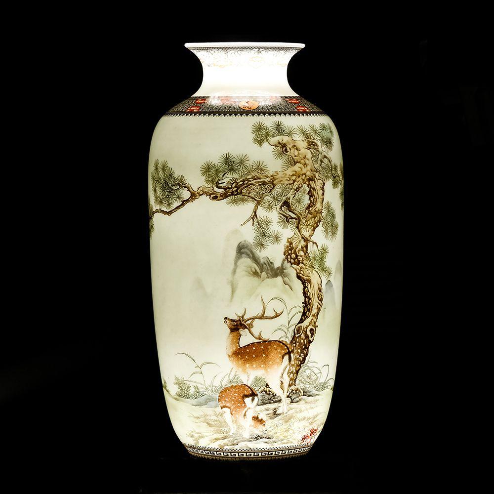 Jingdezhen Vase de bureau en céramique Vintage chinois traditionnel Animal Vase décor à la maison Surface lisse ameublement Articles Pot de fleur