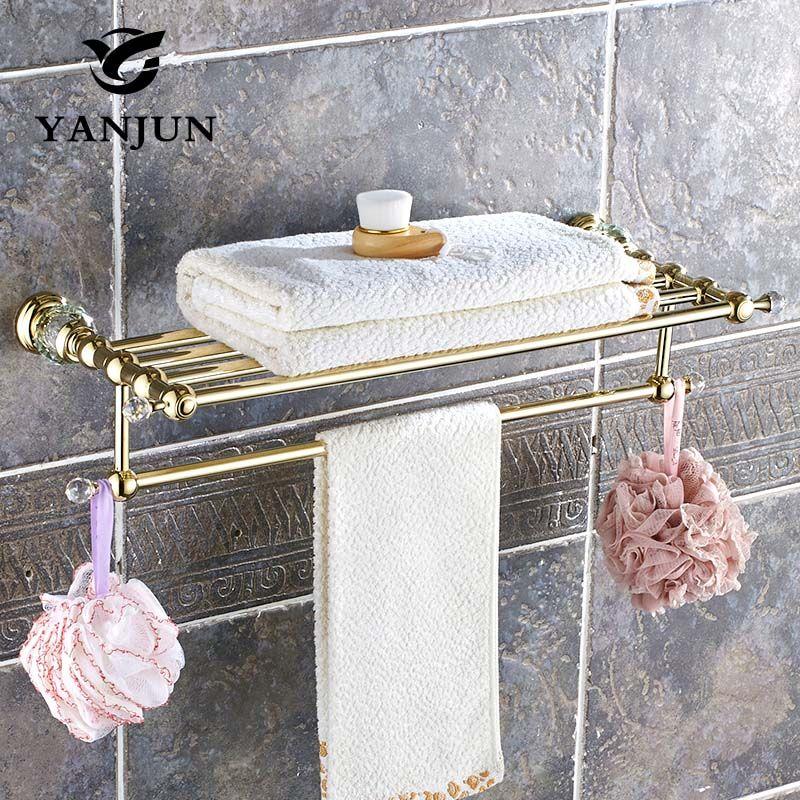 YANJUN Qualitativ Hochwertige Mode Messing Cyrstal Goldene Handtuchhalter Bad-accessoires Für Home YJ-8060
