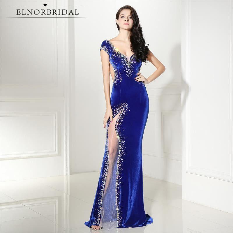 Elnorbridal Real Photo Velvet Evening Dresses Mermaid Royal Blue 2017 Avondjurk Robe De Soiree Prom Dress Formal Party Gowns