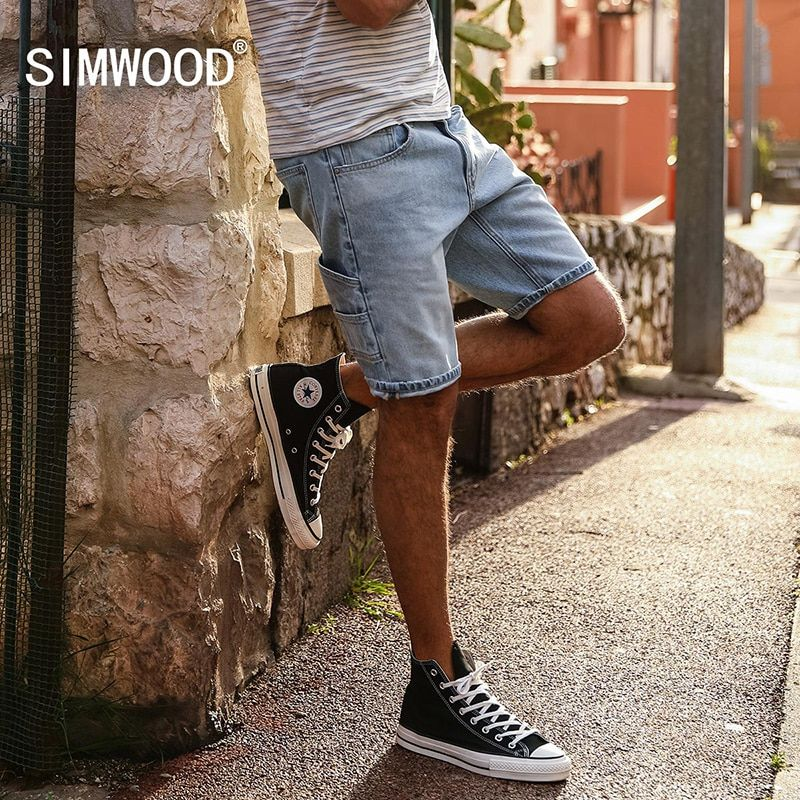 SIMWOOD 2018 Summer Fashion Denim Shorts Men Slim Fit Casual Cotton Jeans Trousers Male Plus Size Brand Clothing 180071