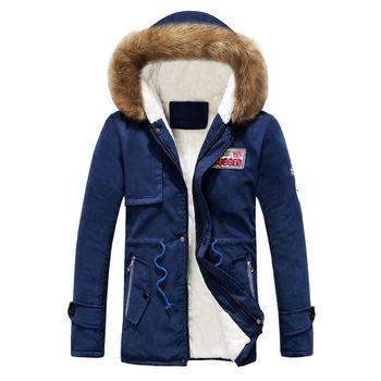 Парка Для мужчин Пальто и пуховики Зимняя куртка Для мужчин Тонкий Сгущает Мех верхняя одежда с капюшоном теплое пальто Топ брендовая одежд...