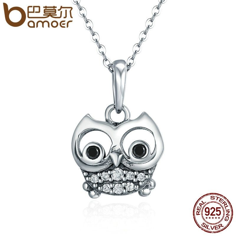 BAMOER Authentic 100% 925 Sterling Silver Animal Cute Owl Necklace Women Pendant Necklace Sterling Silver Jewelry SCC341