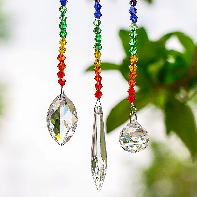 H&D 63/38/20mm Chakra Crystal Ball Chandelier Prisms Pendants Parts 3pcs/set Suncatcher Rainbow Maker Hanging Drop Home Ornament