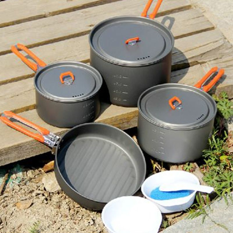 4-5 Person Camping Cooking Set 3 Pot Frying Pan For Team Outdoor Camping Hiking Picnic Cooking Cookware Fire Maple Feast 5
