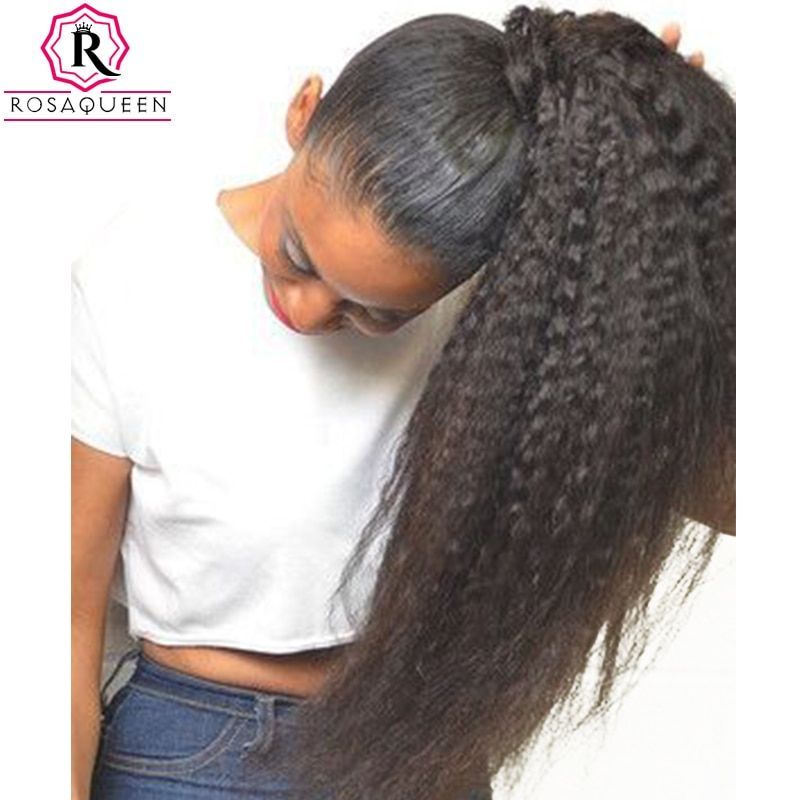 Kinky Straight Ponytail For Women Natural Coarse Yaki Remy Hair 1 Piece Clip In Ponytails Black 100% Human Hair Rosa Queen