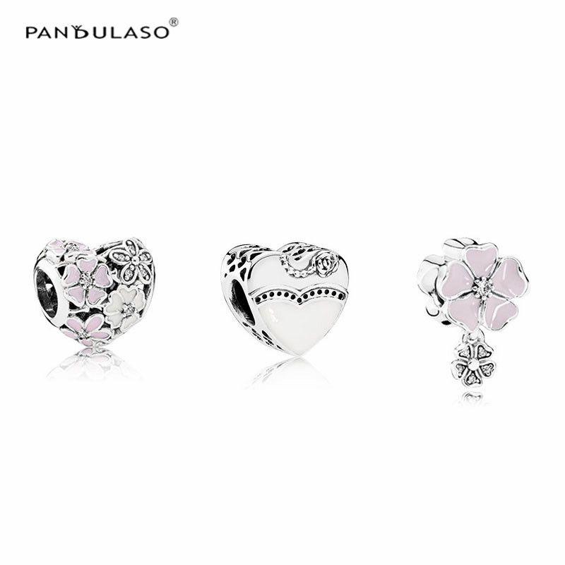 Pandulaso Flower Heart & Pink Blooms Enamel Beads For Women Charms Bracelets Jewelry Making Spring DIY Sterling-Silver-Jewelry