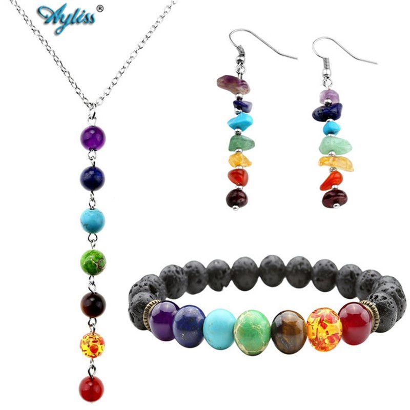 Ayliss Chakra Healing Balance Stones Bracelets Necklace Earrings Jewelry Sets Femme Yoga Reiki Prayer Wish Stone XMAS Pulseras