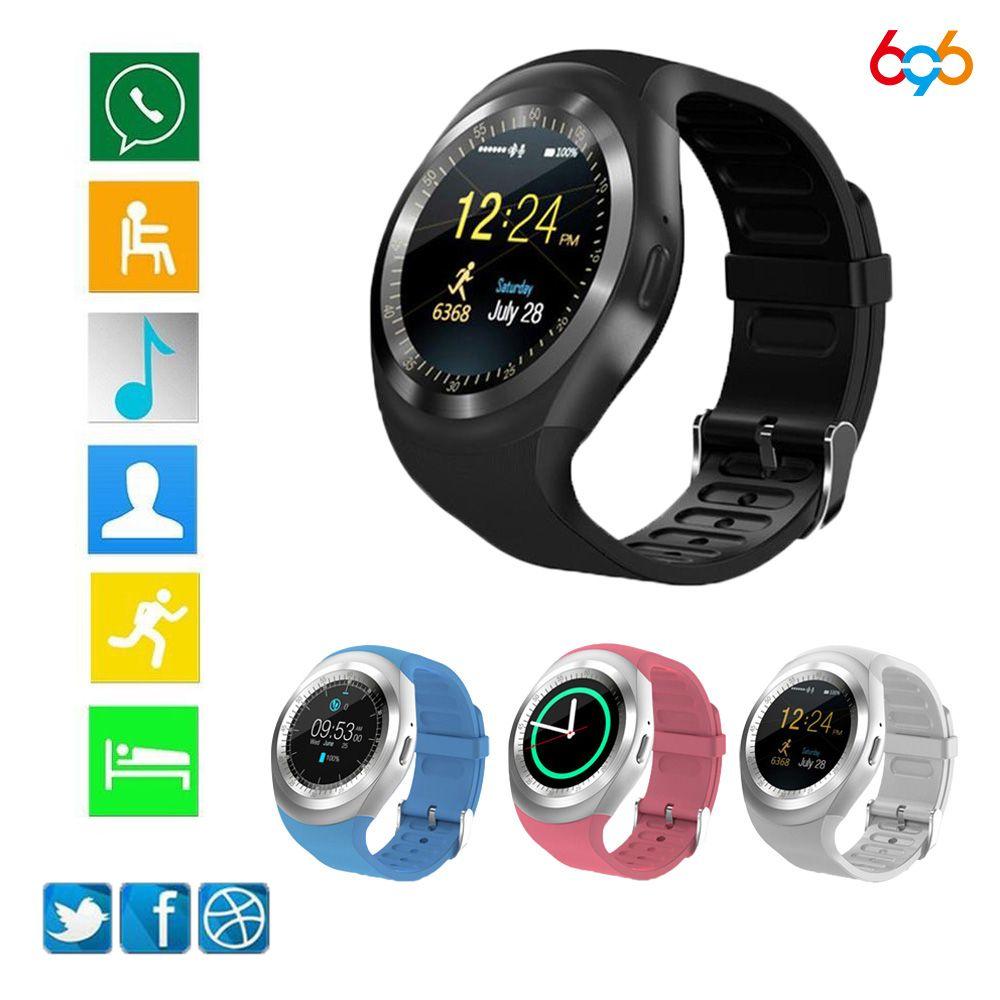 696 Y1 Watchs Puce Ronde Soutien Nano SIM & TF Carte Avec Whatsapp Et Facebook Hommes Femmes D'affaires Smartwatch Pour android Téléphone