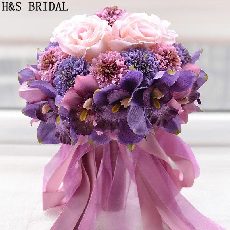 Hermoso color rosa púrpura nupcial de dama de honor flor de la boda Bouquet flor artificial Rose Ramos nupciales