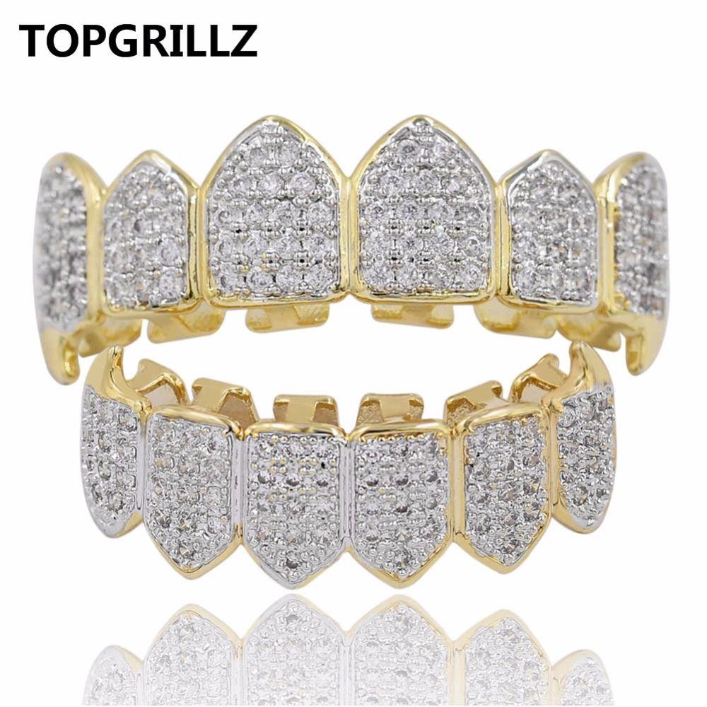 TOPGRILLZ Hip Hop GRILLZ Iced Out AAA Zircon Fang Mouth Teeth Grillz Caps Top & Bottom Grill Set Men Women Vampire Grills