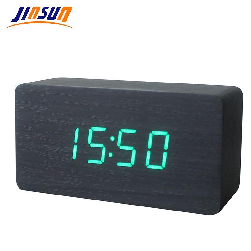 JINSUN Mejores Relojes de Alarma de Alta gama Termómetro de Madera de Madera del LED Digital de Voz Reloj de Tabla Reloj Digital Wekker KSW103-C-BK
