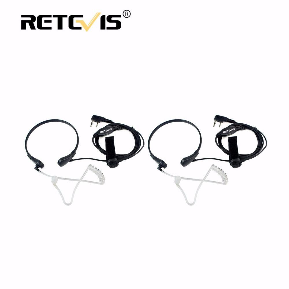 2pcs Retevis Throat Mic PTT Earpiece Walkie Talkie Headset For Kenwood For Baofeng UV-5R Bf-888S For Retevis RT21 RT22 RT24 H777