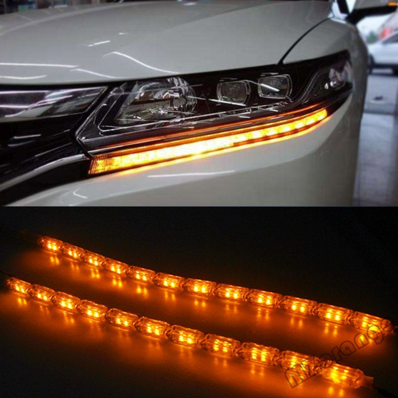 2x Car Flexible White/Amber Switchback LED Knight <font><b>Rider</b></font> Strip Light for Headlight Sequential Flasher Dual Color DRL Turn Signal