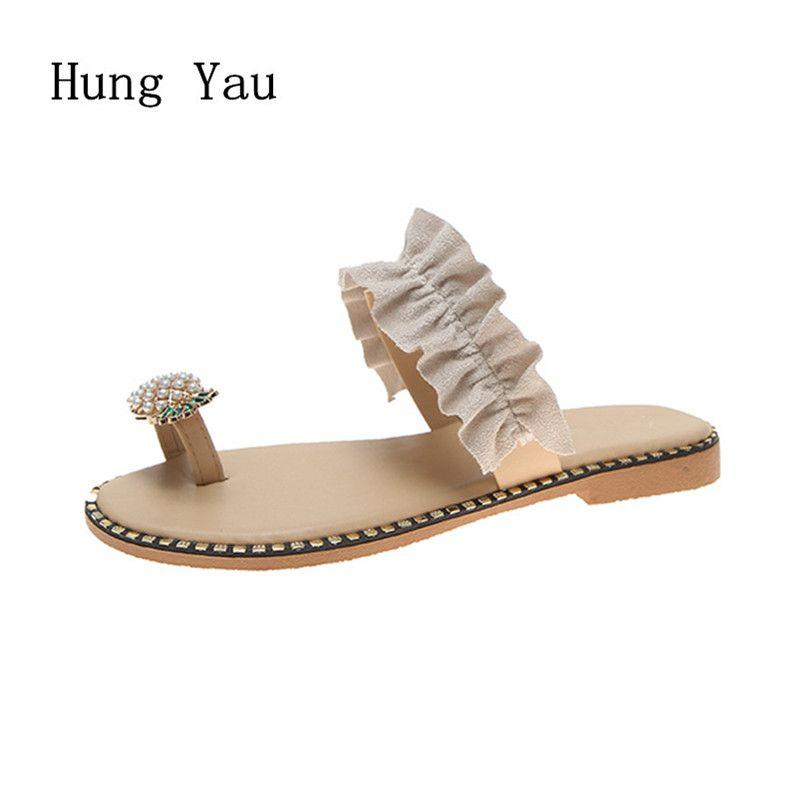 Femmes sandales tongs pantoufles chaussures plates chaîne perle été mode cales femme diapositives ananas dame décontracté femme