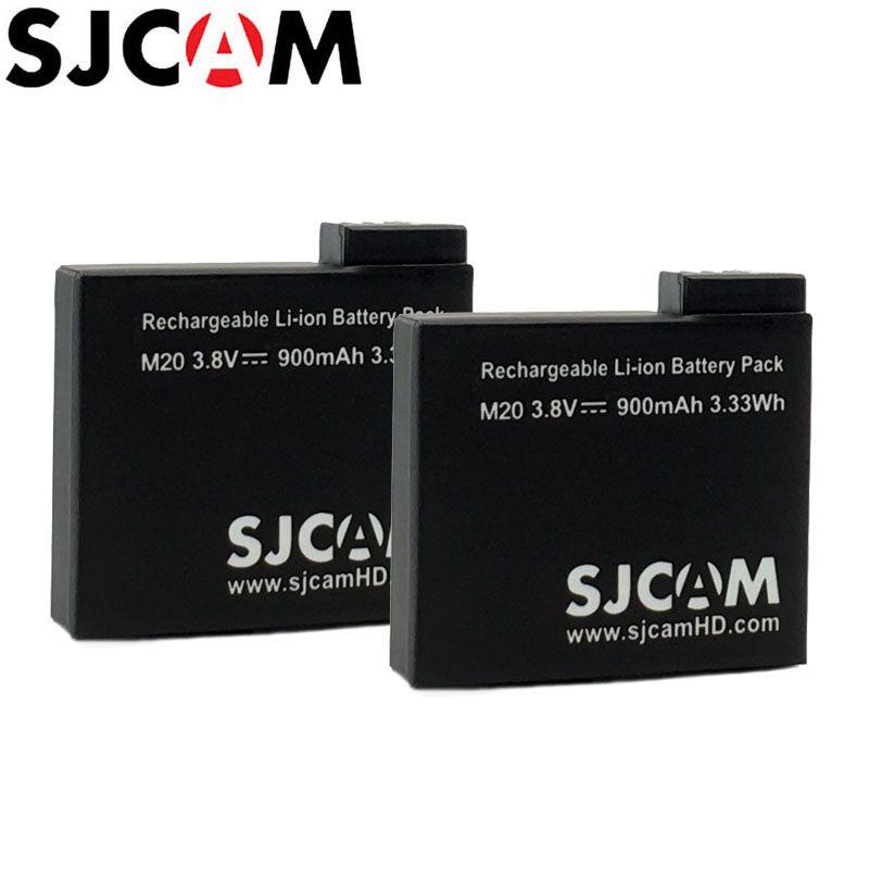 2 pièces SJCAM M20 Batteries Rechargeables Li-ion Batterie Pack 3.8 V 900 mAh Caméra D'action/Caméra Sport DV Batterie