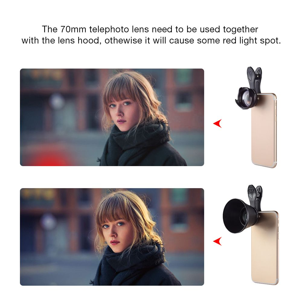 APEXEL mobile phone lens kit 2.5X HD SLR Telefon telescope camera lens bokeh Portrait for iPhone6 7 Xiaomi mi Android smartphone