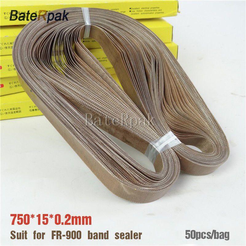 Bande de téflon de scelleur de bande de FR-900, taille de BateRpak 750*15*0.2mm pour le scelleur continu de bande, 50 pièces/sac, bande à hautes températures