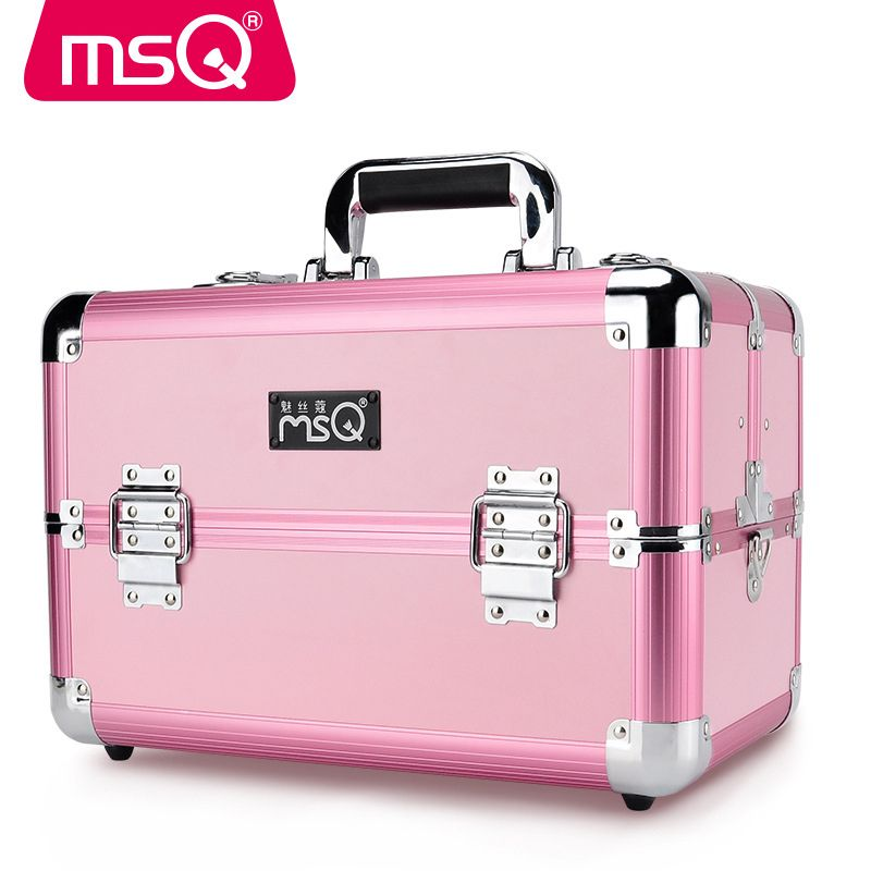 MSQ Kosmetik Fall Volle Professionelle Make-Up Fall Aluminiumlegierung Gebürstet Kunststoff Fall 2 Farbe Optional Größe