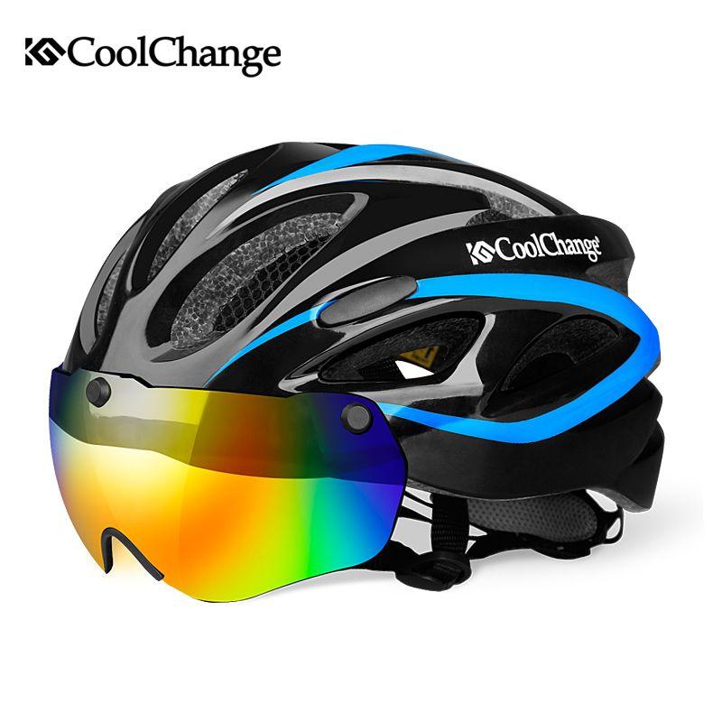 CoolChange Bicycle Helmet EPS Insect Net <font><b>Road</b></font> MTB Bike Windproof Lenses Integrally-molded Helmet Cycling Casco Ciclismo