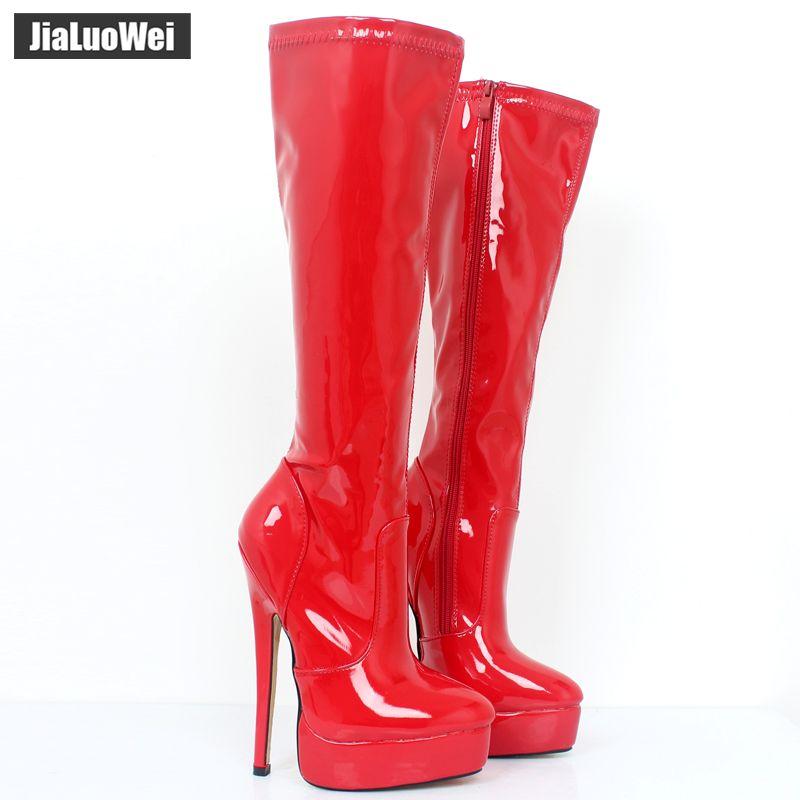 Jialuowei 2018 femmes bottes en cuir verni Sexy fétiche 18 cm talons hauts femme plate-forme bout pointu Zip genou-haute bottes de danse