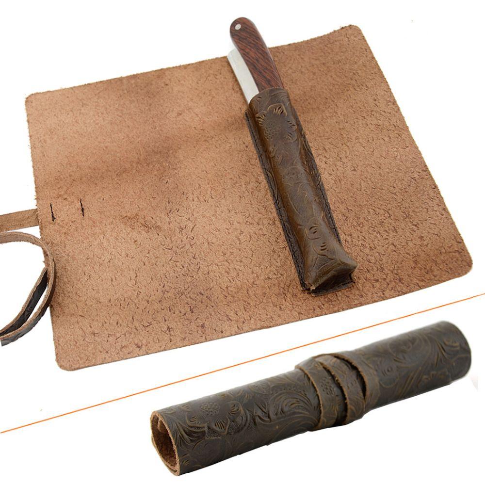 ZY Vintage rasoir droit Cut Throat Holder Sécurité Lame Rasoir Cas Véritable rouleau en cuir Voyage Cas De Couteau Pour Hommes Rasage Barbe