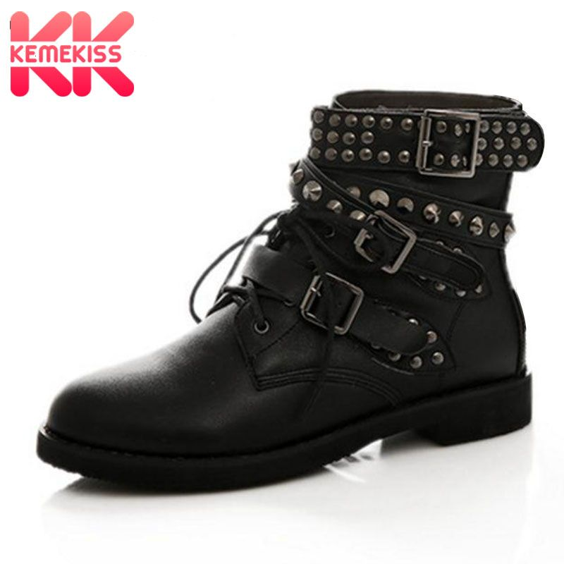 KemeKiss Size 35-44 Women Half Short Flats Boots Rivet Cross Strap Short Boots Warm Fur Shoes Winter Botas For Woman Footwears