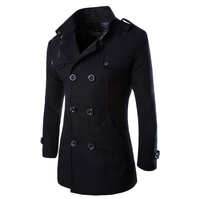 2017 Fashion Men's Autumn Winter Coat Turn-down Collar Wool Blend Men Pea Coat Double Breasted Winter Overcoat