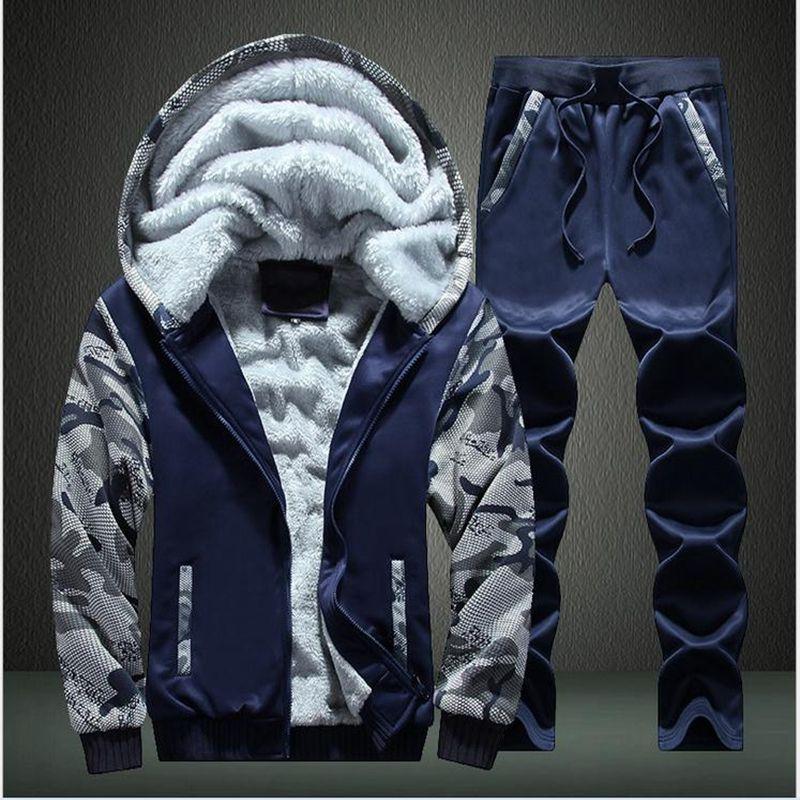 Sporting Suit Men 2017 Winter Tracksuits Men's Sets Thicken Fleece Plus Size XXXXL Hoody Hoodies+Pants Sweat Suit Training suit