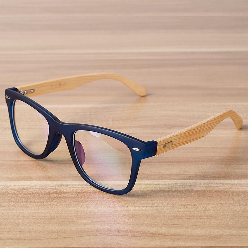 Mode coréenne Lunettes Cadre Objectif Clair Lunettes Optiques En Bois Bambou Noir Bleu Lunettes Cadres Spectacle pour Femmes Hommes