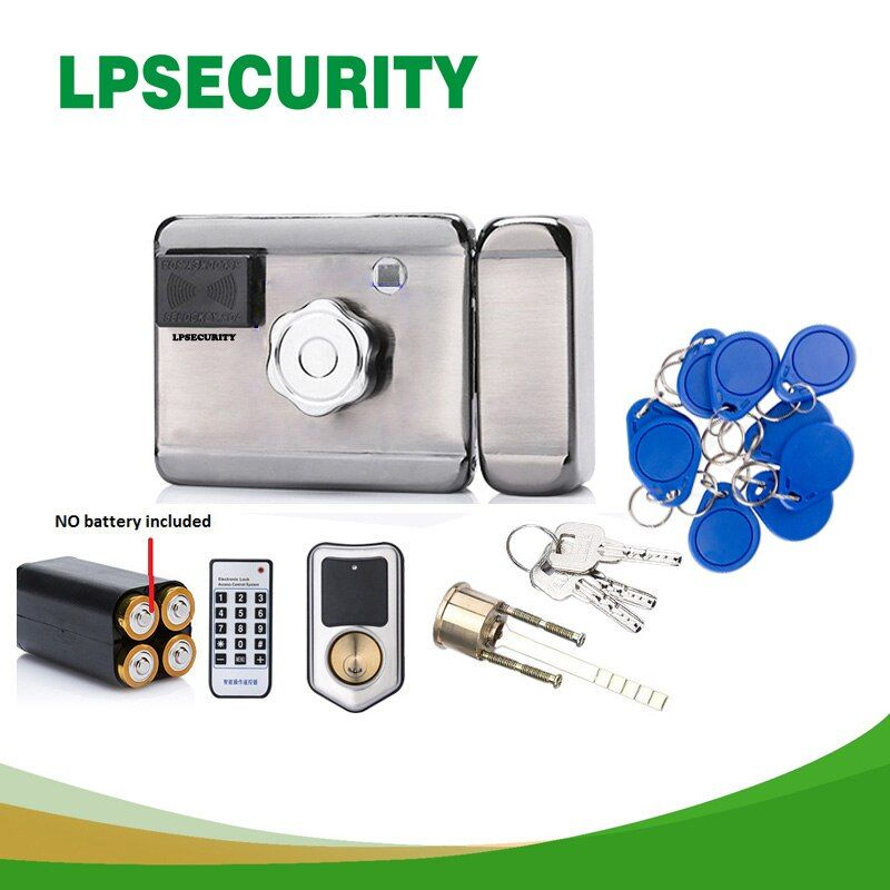 LPSECURITY batterie powered/12VDC 13,56 IC RFID Reader elektrische Tor Türschloss Access Control System kit mit 10 tags oder TM tag