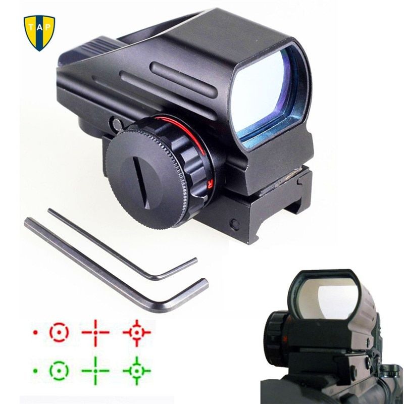 Hunting Optics 1x22x33 Compact Reflex Red Green Dot Sight Scope 4 Reticle Sight for Airsoft With Weaver 20mm  Mount Caza