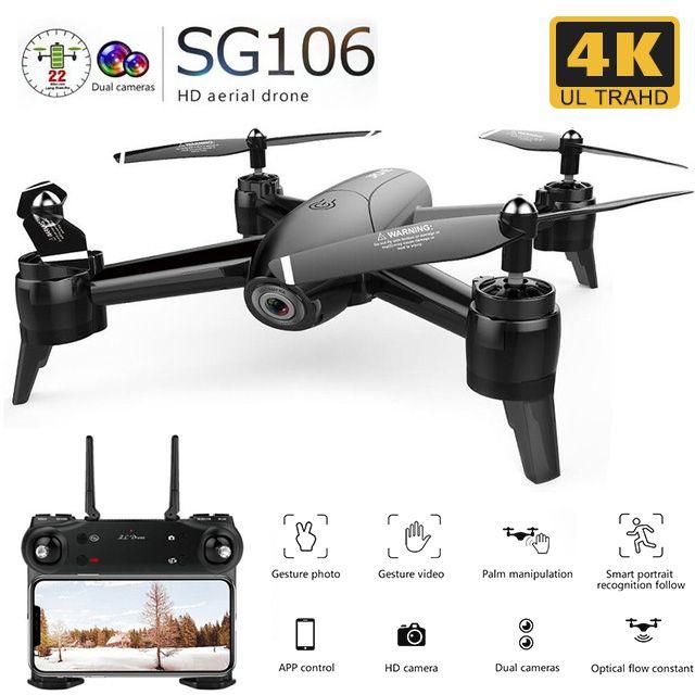 SG106 RC Drone flux optique 1080P 720P 4K HD double caméra en temps réel vidéo aérienne RC quadrirotor avion positionnement RTF jouets enfant