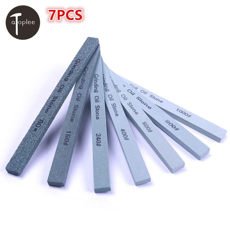 7 pièces 80 #150 #240 #400 #600 #800 #1000 # aiguiseur de couteau à grain vert carbone affûtage polissage pierre à huile meulage pierre