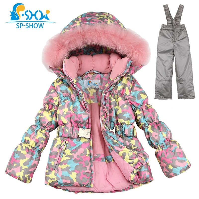 SPSHOW Kids Girls Winter Clothes Luxury Brand 3-8 Age Down Thick Warm Fleece Winter Jacket Fur Hooded Jacket + Trousers Ski Suit
