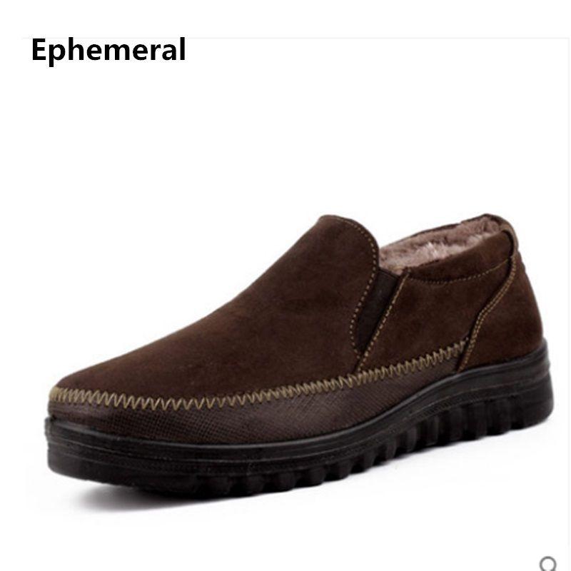 Men's Famous Brand Slip-On Plus size 37-50 Thick Bottoms Old Peking Platform Footwear Fashion Winter Fur Warm Man Cotton Shoes