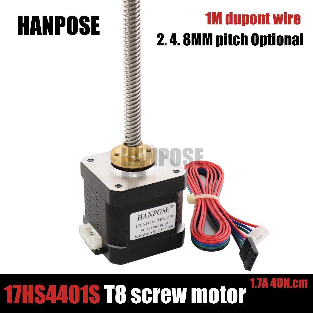 4-lead Nema 17 40mm Stepper Motor 42 17HS4401s 310mm T8 Screw Rod Linear Z-Motor with Trapezoidal Lead Srew for 3D printer