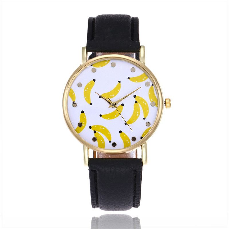 JINEN Fashion Banana Women Leather Strap watches sport Casual Analog Quartz Watches Business Elegant Round Shape Wristwatch