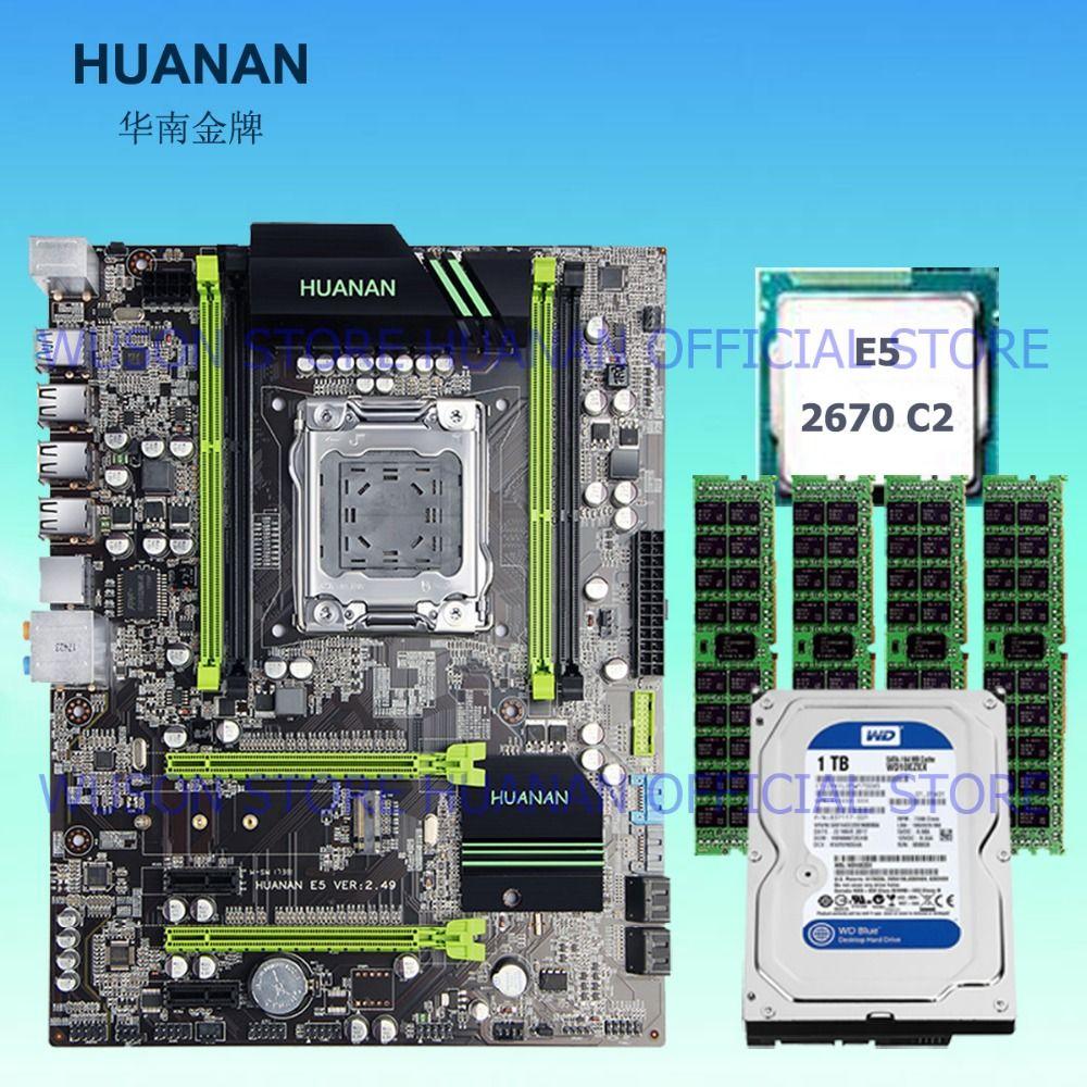 Gebäude perfekte PC HUANAN X79 MOTHERBOARD-FREIES CPU RAM HDD combos Xeon E5 2670 C2 CPU RAM 32G (4*8G) DDR3 RECC SATA3 1 TB desktop HDD