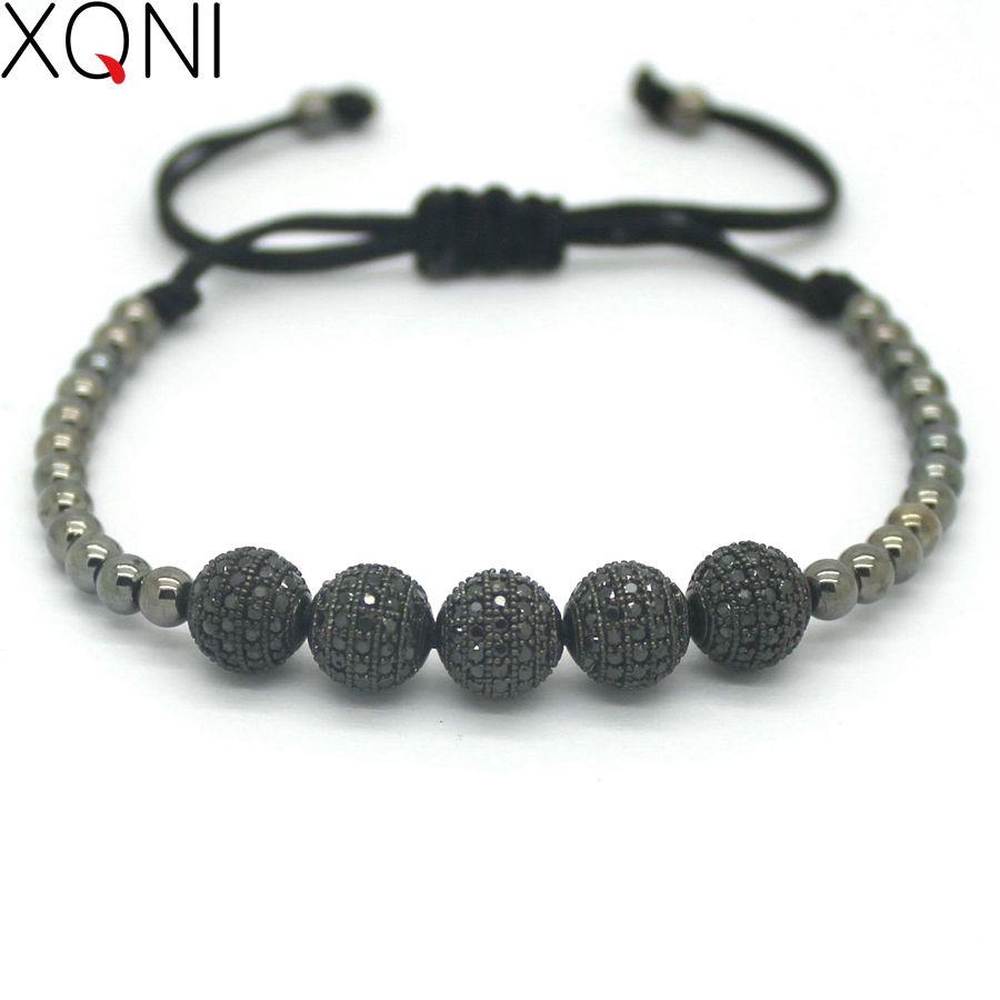 New Black Bracelet For Men,High quality Fashion Micro Pave CZ 5 Balls Classic Bracelets Braiding Macrame Charm Bracelets .