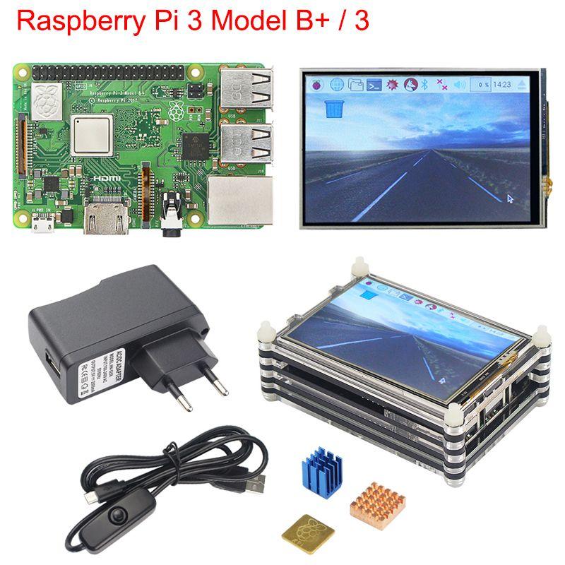 Raspberry Pi 3 B + Plus Starter Kit Raspberry Pi 3 + 3.5 pouces Écran Tactile + 9-couche Acrylique cas + 2.5A Alimentation + Dissipateur de Chaleur