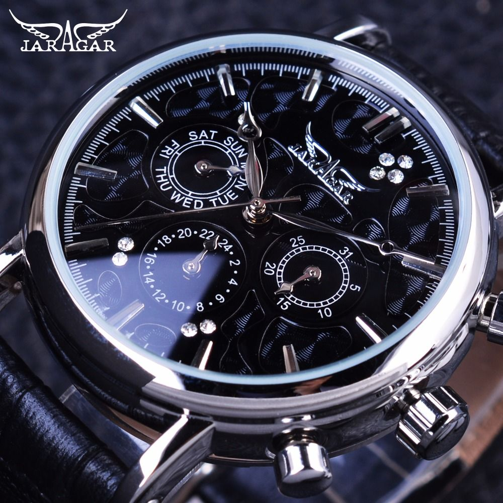 Jaragar 3 Dial Ripple Design Genuine Leather Fashion Casual Silver Case Mens Watches Top Brand Luxury Automatic Mechanical Watch