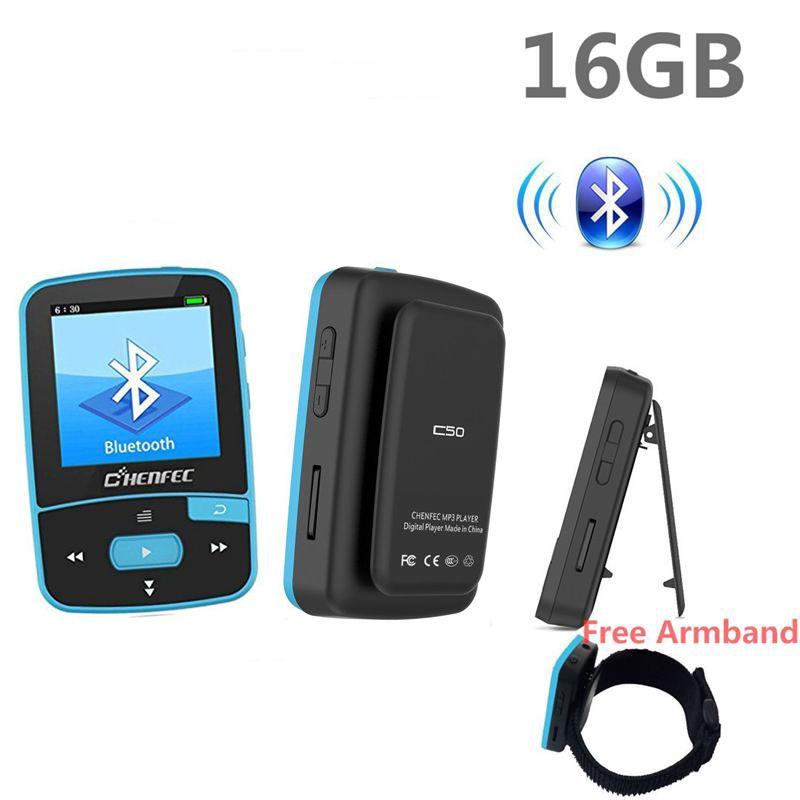 Bluetooth MP4 Player 16 gb Clip Sport Sweatproof Verlustfreie Audio-Player mit FM Radio schrittzähler und Lesezeichen, maximale Unterstützung 64 gb