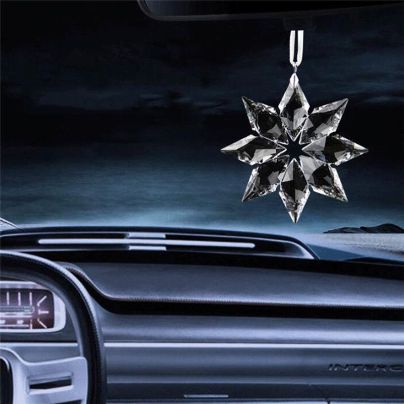 1pc Creative Car Hanging Decoration Crystal Snowflake Car Hanging Ornament Car Rear View Mirror Pendant Accessories Car Hanging