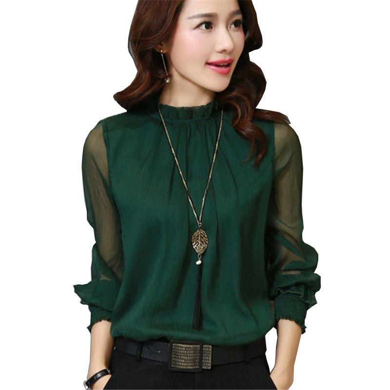 2017 Fashion Spring Autumn Chiffon Blouse New Korean Casual Ruffle Collar Shirt Long Sleeve Women Shirts Tops Plus Size Blusas