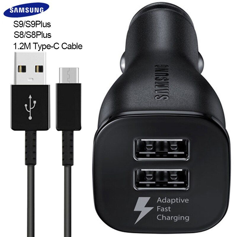 Original Car Charger Samsung Galaxy S9 S8 S 9 plus Fast Charger 1.2M USB Type-C Adaptive Travel Charging 9V1.67A & 5V2A Note 8 9