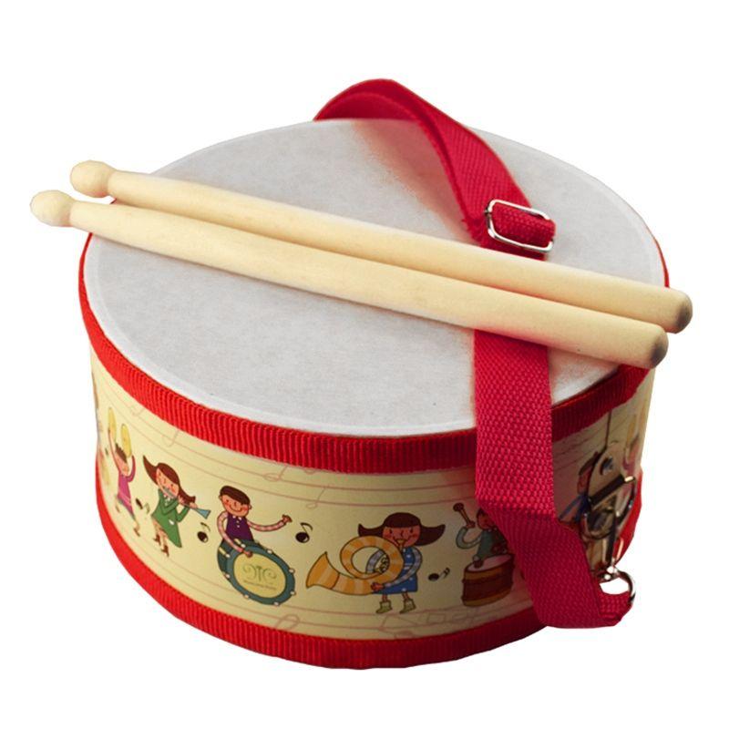 Tambour En Bois Enfants Au Début de L'éducation Instrument de musique pour Enfants Bébé Jouets Battre Instrument Tambour À Main Jouets