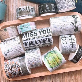 Retro Washi Tape Set Tape DIY Decoration Scrapbooking Planner Masking Tape Washitape Decorative Material Handbook Sticker