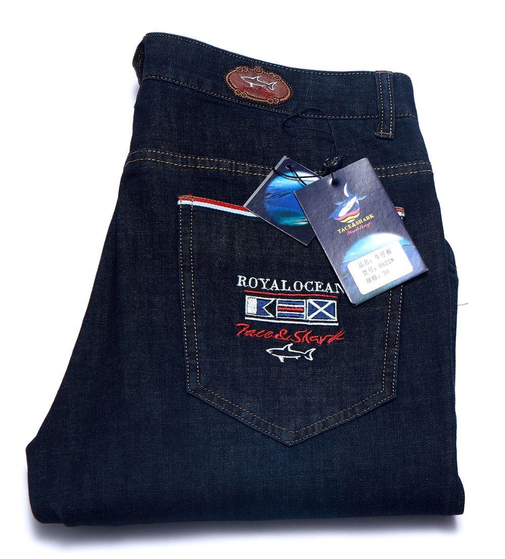Jeans hombre Tace & shark marca de ropa pantalones vaqueros Rectos, medio y de algodón liso, tela fina, pantalones vaqueros bordados Multimillonario de los hombres