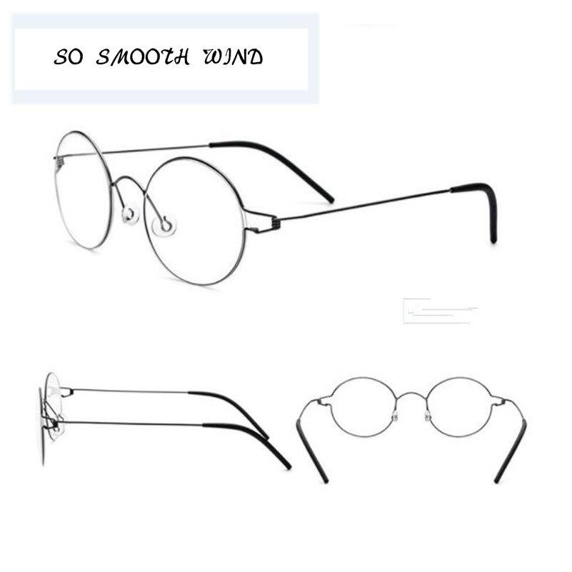 Titanium <font><b>Glasses</b></font> Men Screwless Business Oliver Ultralight Myopia Round Korean Moon Optical Frame Brand Eyewear